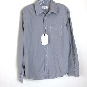 FREE PLANET Mens Long Sleeve Gray Blue Button Up M